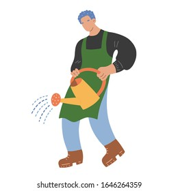 Young man working in garden, male character watering plants with watering can. Vector hand drawn cartoon illustration of cute boy gardener. Urban gardening hobby, spending time outdoors.