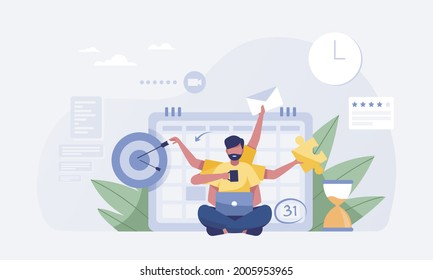 young man working hard with six arms with calendar background. vector illustration