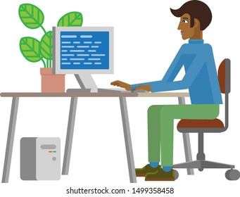 A young man working in his business office interior with computer desk and chair. Flat modern style cartoon