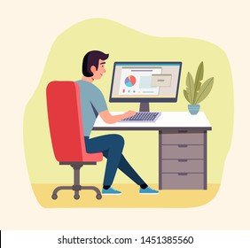 Young  man working at his office. Vector flat style illustration