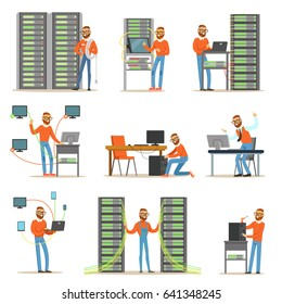 Young man working in network server room. Technician at the data center set of colorful Illustrations