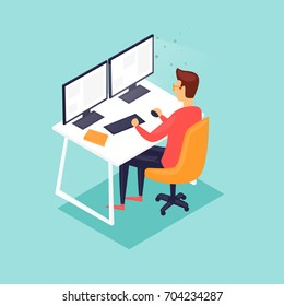 Young man working on the computer programmer, business analysis, design, strategy. 3D Isometric. Flat vector illustration in cartoon style.
