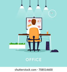 Young man working on the computer programmer, business analysis, design, strategy. Flat vector illustration in cartoon style.