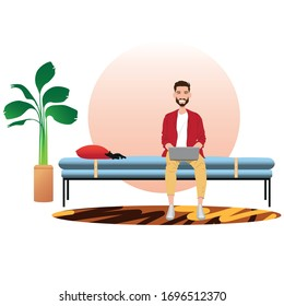 young man working on his laptop from home, illustration concept. Freelancer with computer on his daybed. vector image flat design.