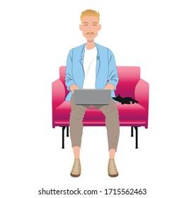 jeune homme travaillant sur son ordinateur portable depuis chez lui, concept d'illustration. Libérateur avec ordinateur sur son fauteuil. image vectorielle création à plat.