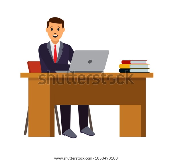 Young Man Working On Laptop Businessman Stock Vector