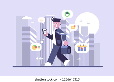 Young man working on run flat poster. Cartoon character smiling boy going on city street and doing work vector illustration. Modern internet technologies and gadgets concept. Cityscape background