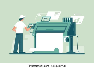 Young man working in typography at print to printer. Concept employee character, electronic device, laptop and computer, paint service. Vector illustration.