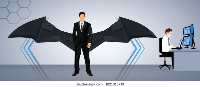 young manager icon with wings vector template