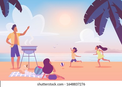 Young married couple preparing bbq grill on sunset beach while small kids playing having fun, flat cartoon. Vector happy family enjoying outdoors summer holiday activity, picnic barbecue party.