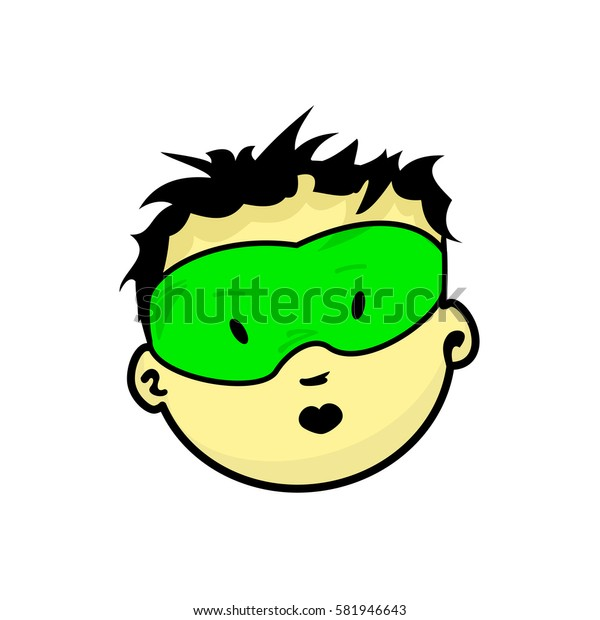 Young masked superhero face expression, cartoon vector illustrations isolated on white background. Handsome boy emoji face icons, human expressions, male avatars with different emotions