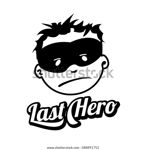 Young masked superhero face expression, vector logo isolated on white background. Vintage style man face badges and labels. Black and white logo templates for your design.