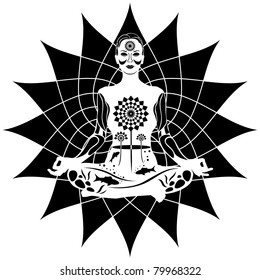 Young meditating woman black and white vector illustration