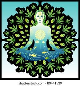 Young meditating woman colorful vector illustration