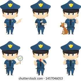 Young men or boy police officer illustration set
