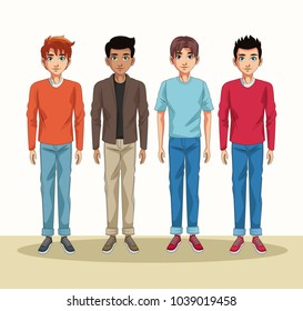 Young men cartoon