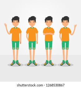 young men fashion with basic color t-shirt and sneaker. modern flat man avatar. people vector illustration