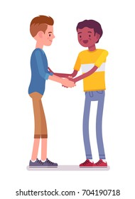 Young men handshaking with both hands. Eye contact, body language, everyday etiquette and customs. Friendship, communication concept. Vector flat style cartoon illustration, isolated, white background