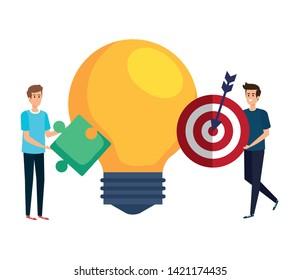 young men lifting target and bulb