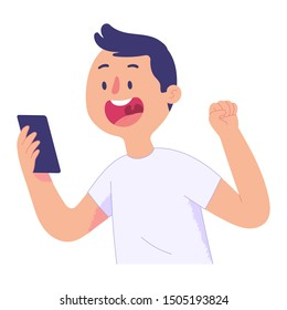 young men look at the cellphone screen with a surprised and happy face, young men get good news and lift one hand, the concept of the young man's happy expressions