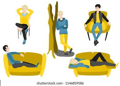 Young men sitting at armchair, chair lying at sofa leaning at tree smiling having rest, relaxing after work or education set. Cartoon guy resting in comfortable cozy furniture Vector illustration