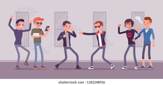 Young men take part in a violent street struggle, group of guys watching boxing contest between angry boys, aggressive hand-to-hand combat in public. Vector flat style cartoon illustration