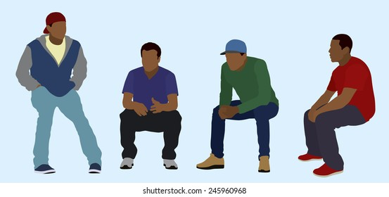 Young Men or Teens Sitting Around Talking