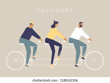 Young men and woman ride a bicycle. The concept of business teamwork. Vector illustration with funny characters. Stylish idea for your start-up pictures. Flat design style with pastel colors