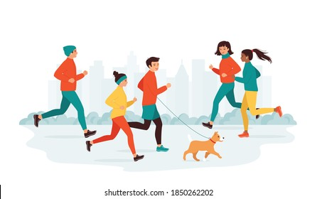 Young men and women diverse nationalities run in a city park. Active healthy lifestyle concept, leisure activity, weekend. Morning, evening jogging. Collection running people. Vector illustration
