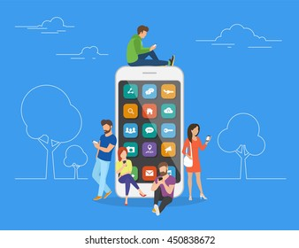 Young men and women are standing near big smartphone and using smart phones, reading news and texting message to friends. Flat vector concept illustration of smartphone usability on blue background