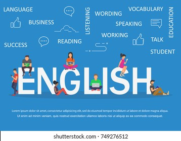Young men and women are standing near big letters and using their own smart phones and books for learning English for reading news. Flat design.