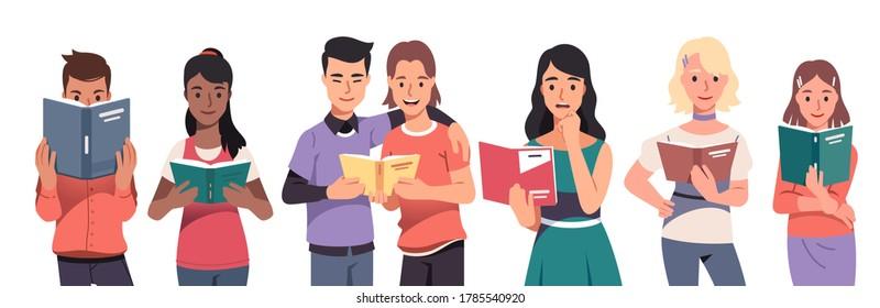 Junge Männer und Frauen lesen Papierbücher. Lächeln Menschen Leser stehen und halten offene Lehrbücher und Taschenbücher. Bildung, Literatur und Wissen. Flache Vektorgrafik