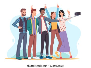 Young men & women taking cell phone selfie stick group photo picture, showing victory sign & having fun together. Person photographing embracing friends. Flat vector character illustration