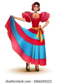 Young Mexican woman in red dress solo dancing. Isolated on white vector cartoon illustration