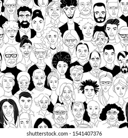 Young, middle age, senior adult women's men's head seamless pattern background. Diversity multiracial, multiethnic crowd group of people. Hand drawn line drawing doodle vector illustration poster