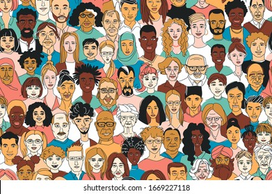 Young, middle age, senior adult women's men's children's seamless pattern background. Diversity multiracial, multiethnic crowd group people. Hand drawn line drawing doodle vector illustration poster