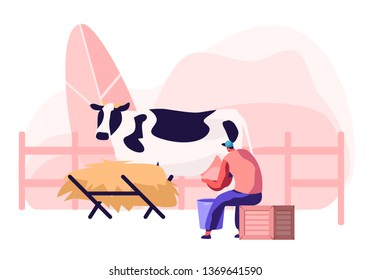 Young Milkmaid Woman in Uniform Sitting on Box and Milking Cow into Bucket. Milk and Dairy Farmer Agriculture Products, Farming Rancher Girl Working on Animal Farm. Cartoon Flat Vector Illustration
