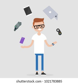 Young millennial character juggling the electronic devices: mobile phone, virtual reality glasses, tablet, laptop and game controller. Multitasking / editable flat vector illustration