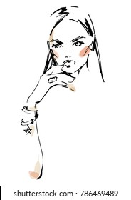 Young modern woman with jewelry. Fashion illustration