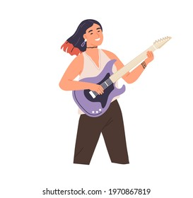 Young modern woman playing rock music on electric guitar. Happy smiling female guitarist. Rocker musician performing on string instrument. Flat vector illustration isolated on white background