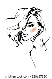 Young modern woman sketch. Fashion illustration