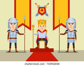 Young monarch sits on throne, two knights stands on guard beside him. Flat style vector illustration