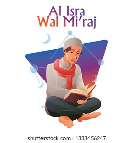 YOUNG MOSLEM MAN READING AL-QUR'AN. WITH AL ISRA WAL MI'RAJ TYPOGRAPHY. THE TEXT MEANS THE NIGHT JOURNEY