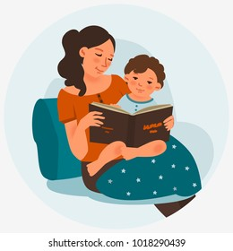 Young mother with baby reading book. Family, early development, activity, learning
