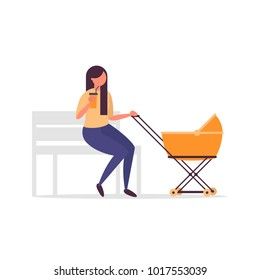 Young mother with baby stroller sitting on a bench. Mom or babysitter character with a pram.  Motherhood concept vector illustration in modern simple and clear flat style.