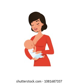 Young mother breastfeeding her baby vector Illustration on a white background