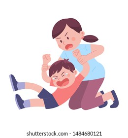 a young mother is calming her little boy who is emotional, angry and crying, a little boy is experiencing tantrums and mother is trying to overcome it