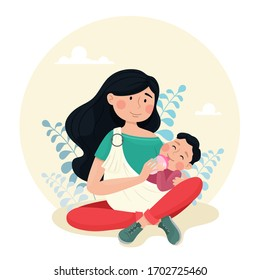 Young mother feeds the baby from the bottle. Mom with a baby in a sling. Vector illustration in cartoon style.