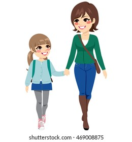 Young mother with her daughter holding hands walking to elementary school