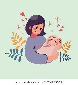Young mother holding her baby sleeping in her arms and smiling from happiness. Mother day and newborn baby infant health care concept. Vector illustration.